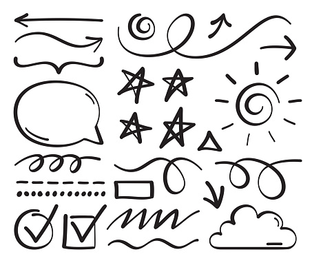 Scribble Hand Drawn Line Drawing and Editing Design Elements