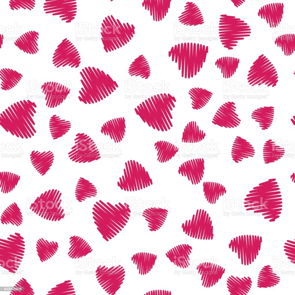 Scribble Heart Seamless Pattern vector art illustration