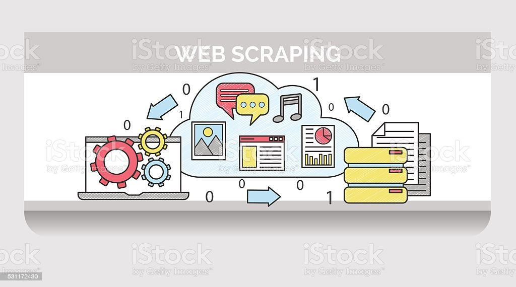 Scribble illustration for web scrapping process sequence vector art illustration