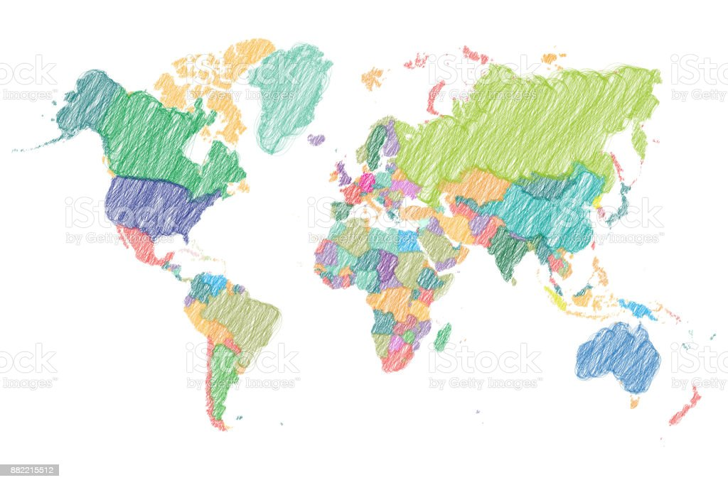 Scribble map of the World with countries vector art illustration