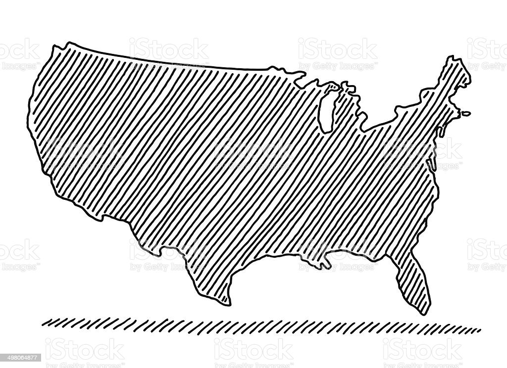 Scribble Map Usa Drawing Stock Vector Art More Images Of Black - Drawing of usa map