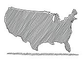 Hand-drawn vector drawing of a Scribbled Map of the USA. Black-and-White sketch on a transparent background (.eps-file). Included files are EPS (v10) and Hi-Res JPG.