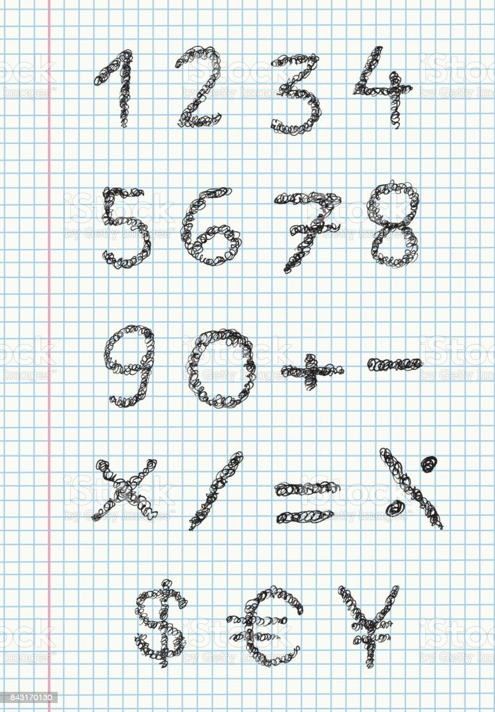 Scribble numbers on squared paper vector art illustration