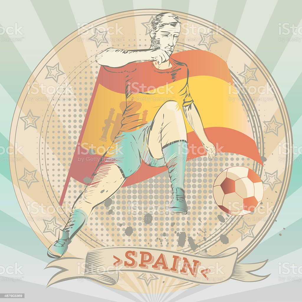 scribble of a spanish soccer player royalty-free stock vector art