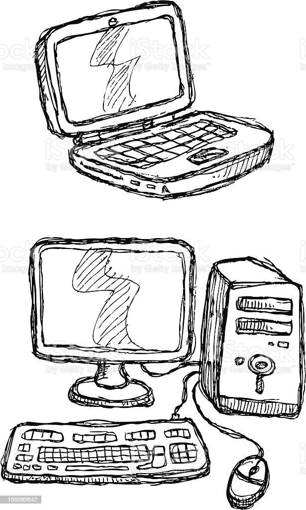 Scribble Series - Computers royalty-free stock vector art
