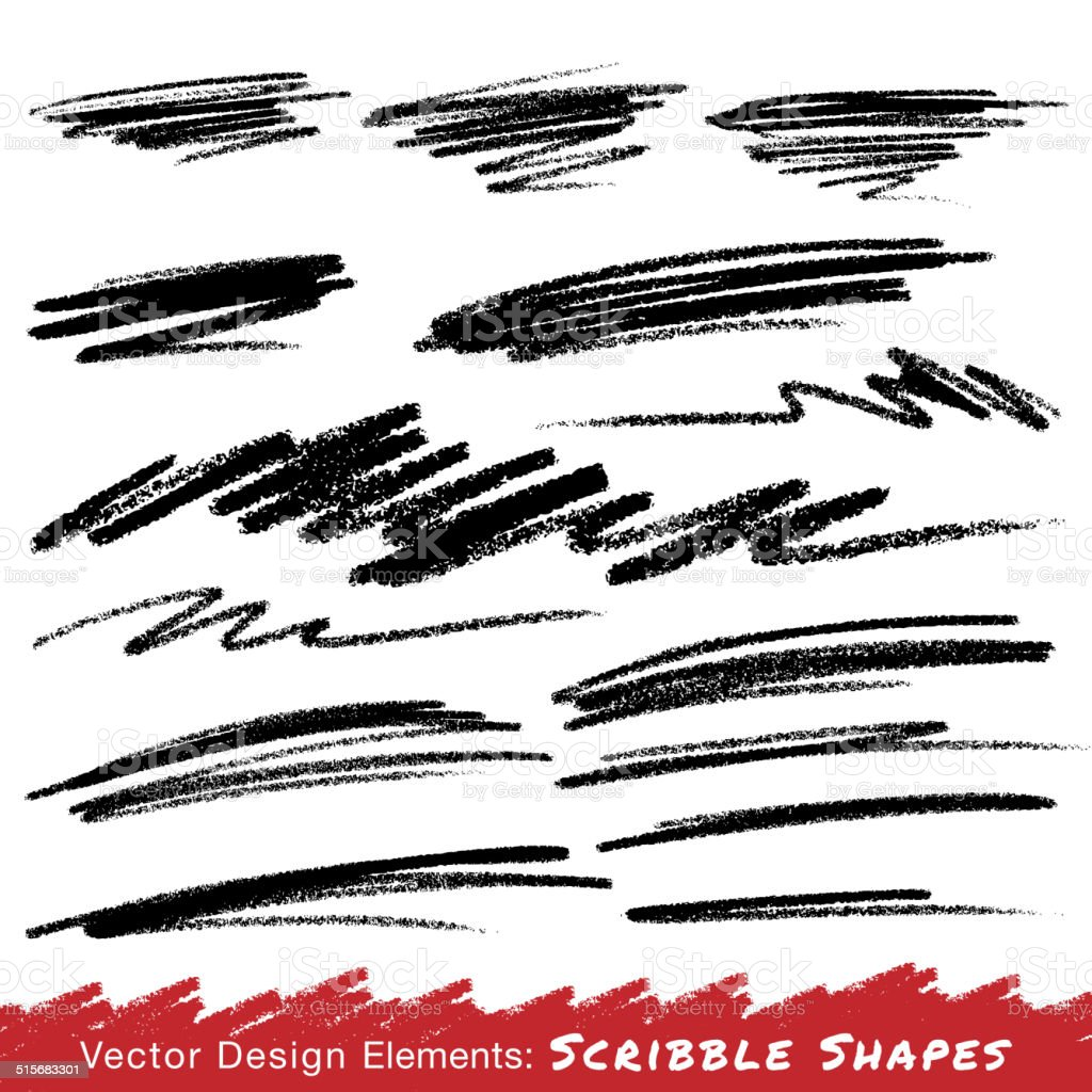 Scribble Smears Hand Drawn in Pencil vector art illustration