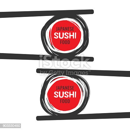 istock Scribble sushi vector icon with chopsticks 903330450