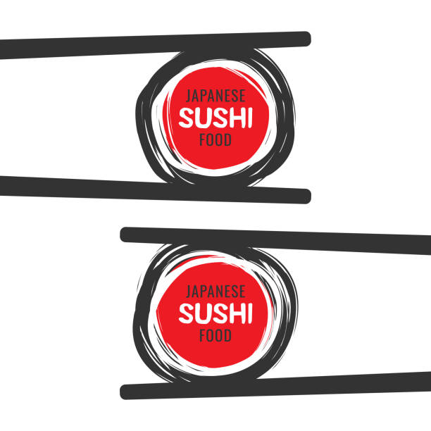 scribble sushi vector icon with chopsticks - sushi stock illustrations