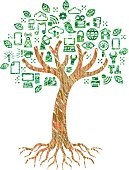 A simple graphic tree and roots, with the foliage formed from symbols and icons relating to computing and technology. The style is of a scribbled colour pencil drawing, each layer of colour is a simple shape so colour changes are easy.