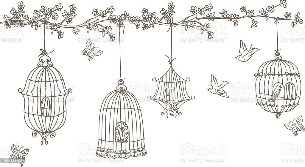Dessin Oiseau En Cage dessin cage a oiseaux vecteurs et illustrations libres de droits