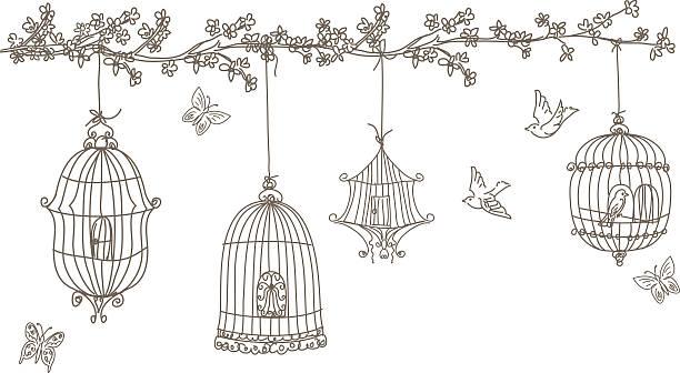 illustrations, cliparts, dessins animés et icônes de scribbled et se compose de cages oiseaux suspendus branche d'arbre fleur de cerisier - dessin cage a oiseaux