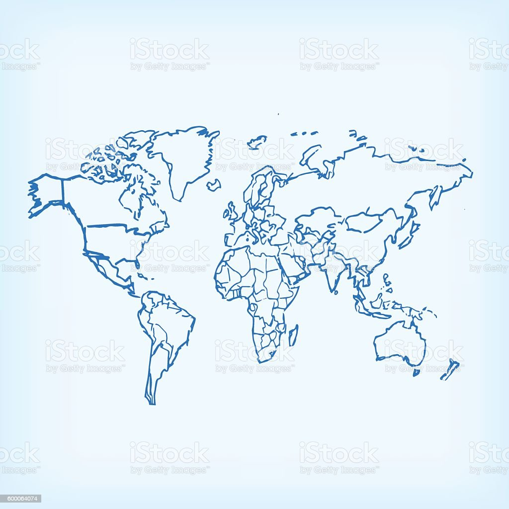 Scribbled blue world map on light blue canvas stock vector art scribbled blue world map on light blue canvas royalty free scribbled blue world map on gumiabroncs Image collections