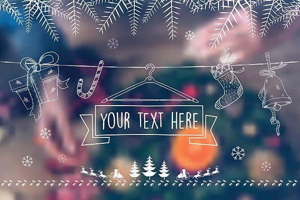 scribbled christmas line ornaments on blurred christmas background - weihnachtsmarkt stock-grafiken, -clipart, -cartoons und -symbole