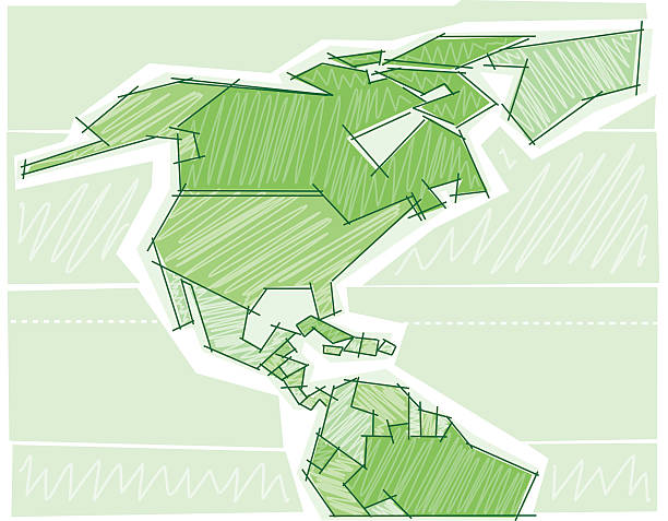 Scribbled map of North America Sketch style map. Saved in layers. With XL Jpg. drawing of a haiti map stock illustrations