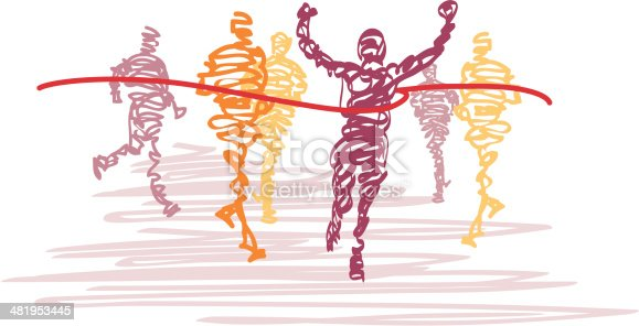 istock Scribbled Runners Cross the Finish Line 481953445