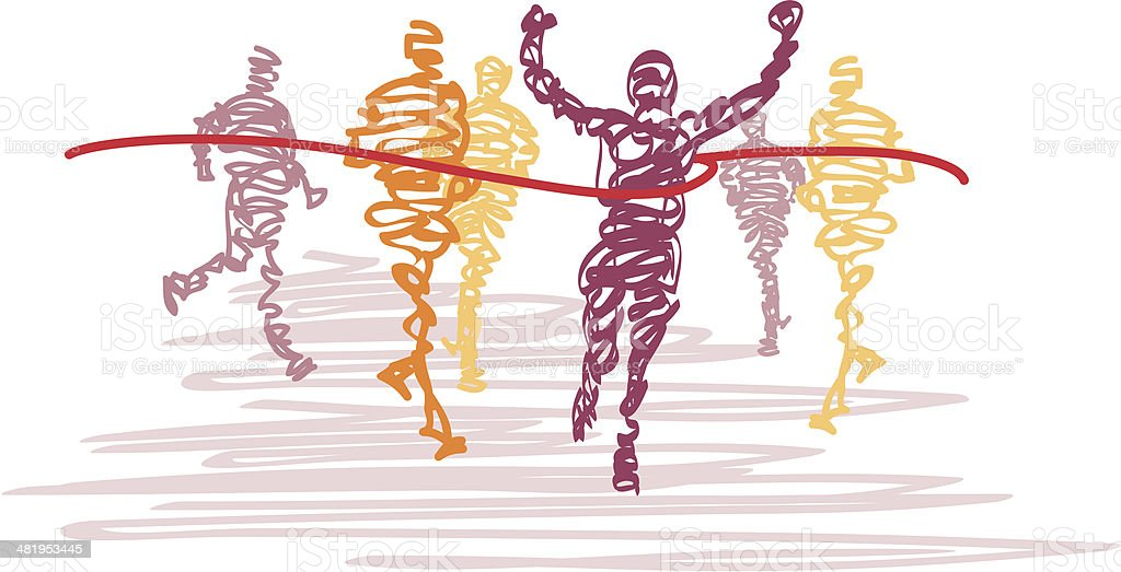 Scribbled Runners Cross the Finish Line vector art illustration