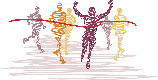 scribbled runners cross the finish line - finish line stock illustrations, clip art, cartoons, & icons