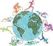 istock Scribbled Triathletes World 455461563
