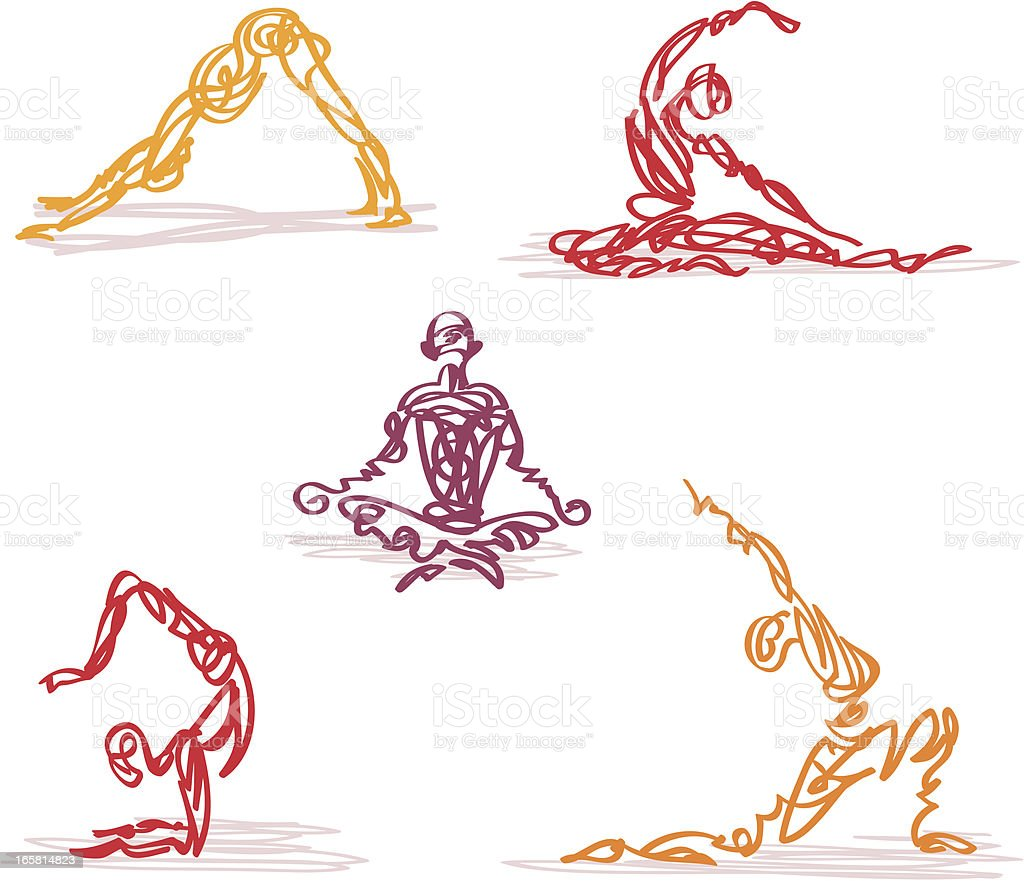 Scribbled Yoga royalty-free stock vector art