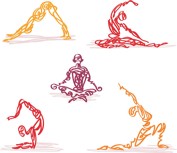 Scribbled Yoga Sketchy style scribbled people in various yoga poses. Vector illustration colors can be easily changed. XL jpg included. qigong stock illustrations