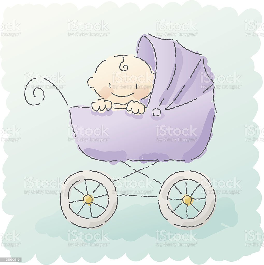 scribbles: baby buggy vector art illustration