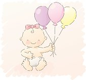 girl celebrating, holding up some balloons. grouped and layered for easy editing.