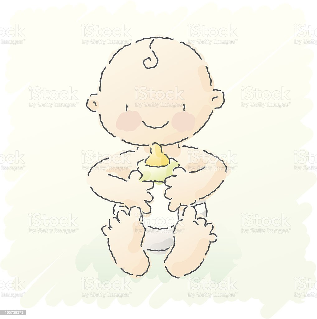 scribbles: baby with bottle vector art illustration