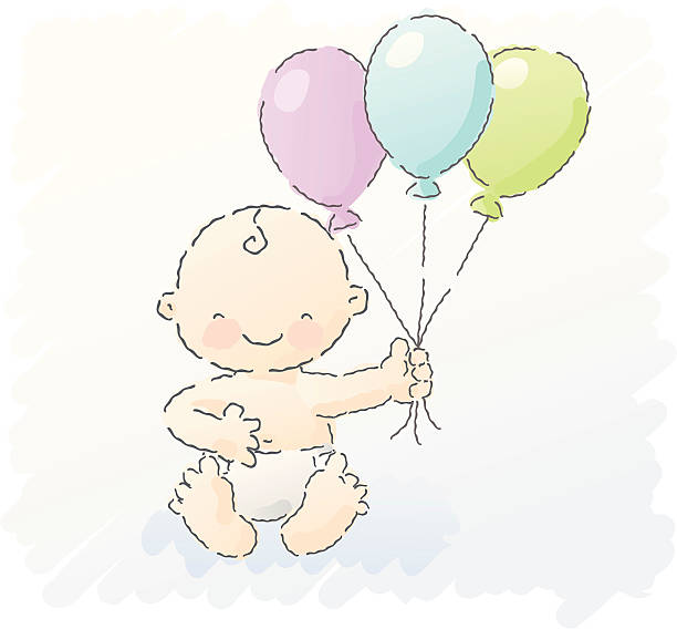 scribbles: boy baby shower vector art illustration