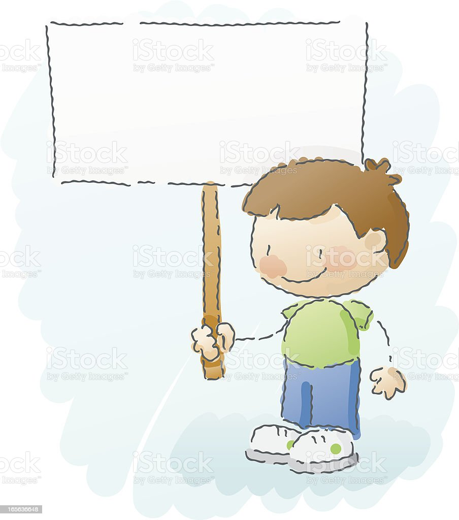 scribbles: boy with sign vector art illustration
