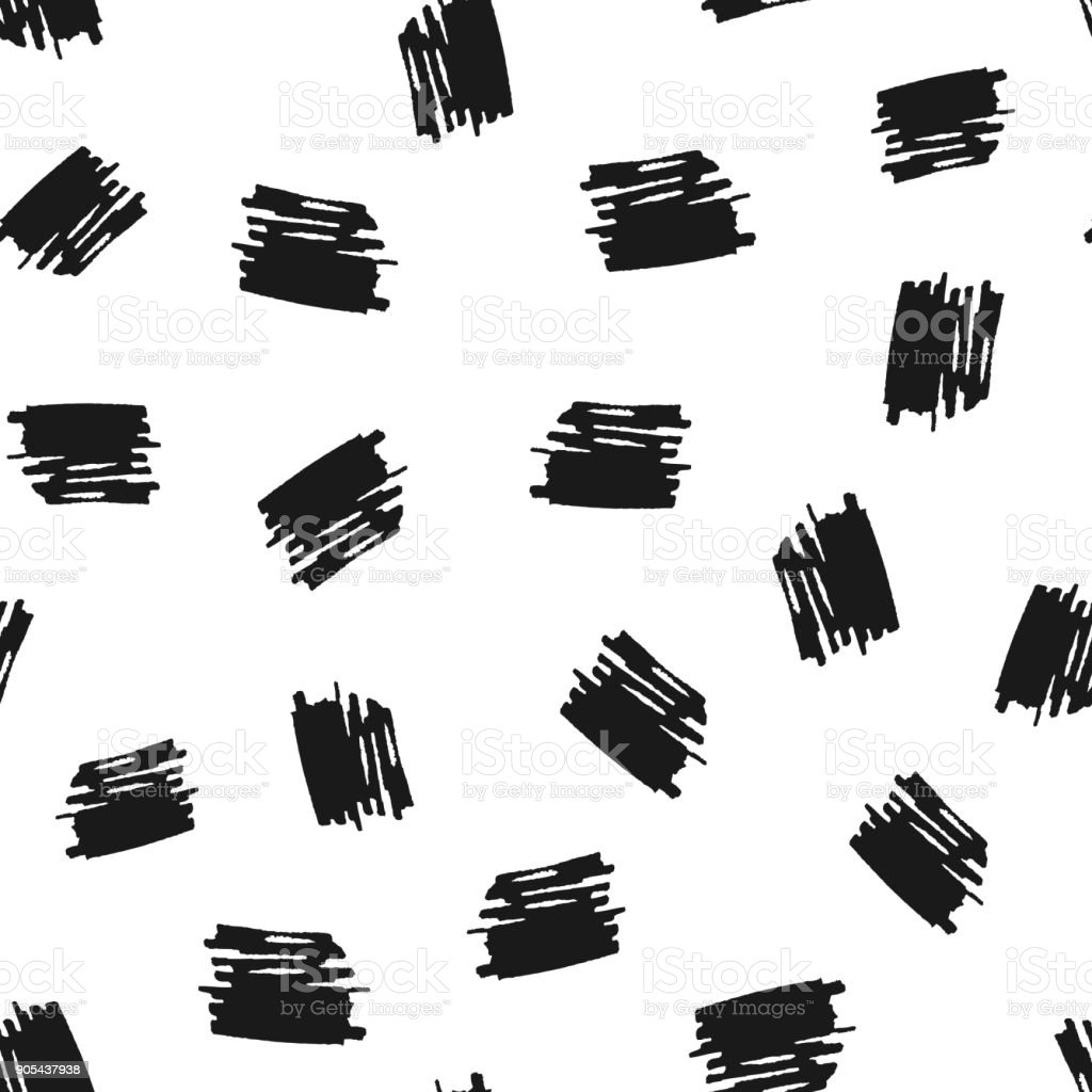 Scribbles drawn by hand with a brush. Seamless pattern. Grunge, sketch. vector art illustration