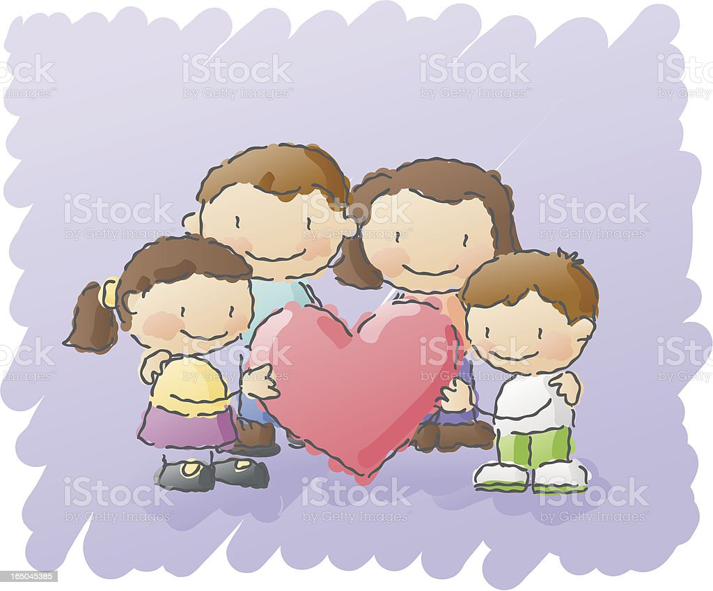 scribbles: family love vector art illustration