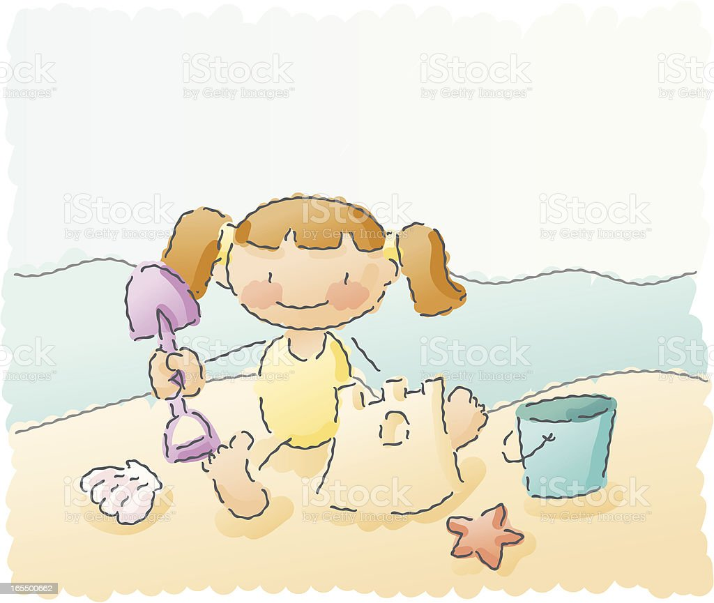 scribbles: girl at the beach royalty-free stock vector art