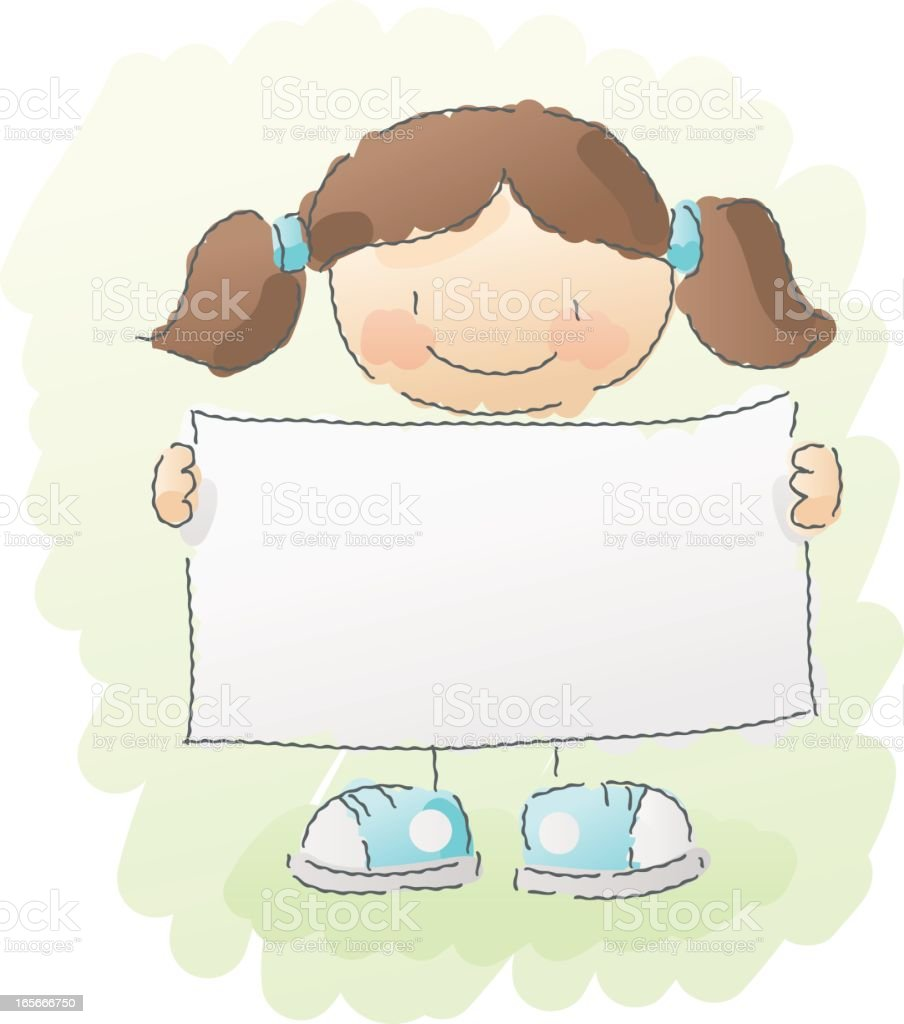 scribbles: girl with sign royalty-free stock vector art