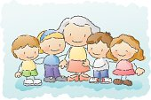 grandma surrounded by her grandchildren.