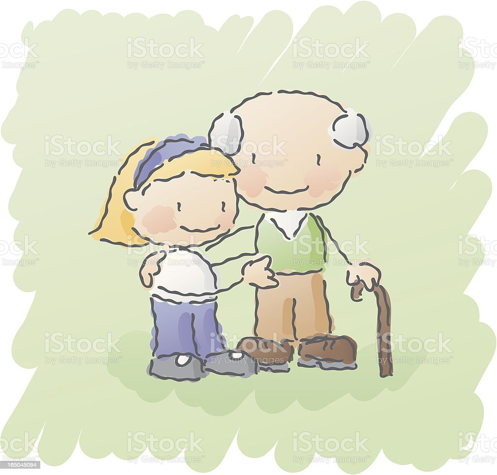 scribbles: grandpa vector art illustration