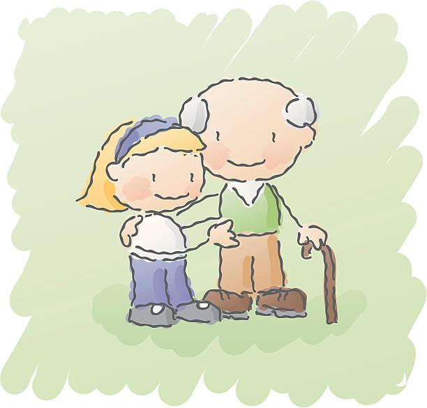 ilustraciones, imágenes clip art, dibujos animados e iconos de stock de garabatos: abuelo - nieta