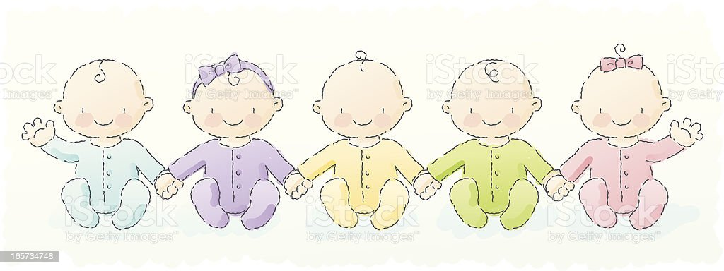 scribbles: group of babies vector art illustration