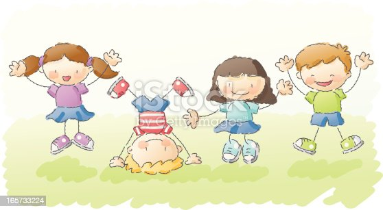 4 kids jumping happily outdoors. grouped and layered for easy editing.