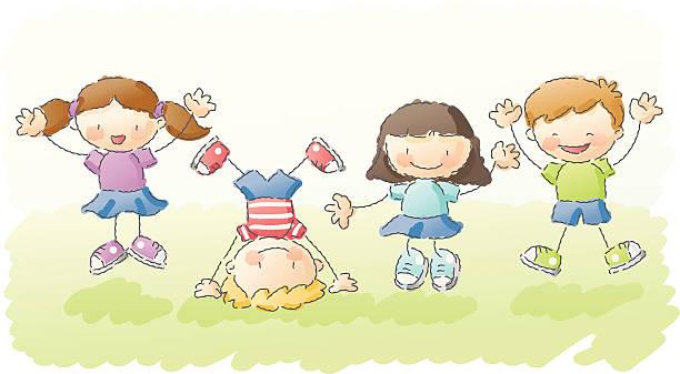 scribbles: springe für freude! - urlaubsaktivitäten stock-grafiken, -clipart, -cartoons und -symbole