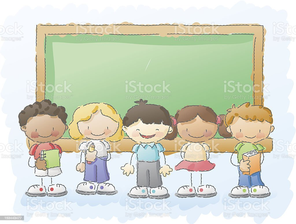 scribbles: kids in the classroom royalty-free stock vector art