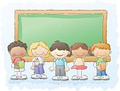 an ethnically diverse group of kids in a classroom setting. Put your own text in the blackboard!