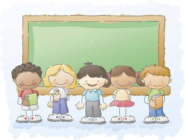 scribbles: kinder in der schule - grundschule stock-grafiken, -clipart, -cartoons und -symbole