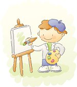 a future rembrandt or van gogh, a kid painting at the easel. grouped and layered for easy editing