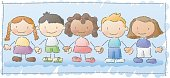 kids of different ethnicities, holding hands in a hand-drawn, watercolor style. more images in this series