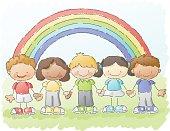 multiethnic group of children under a rainbow