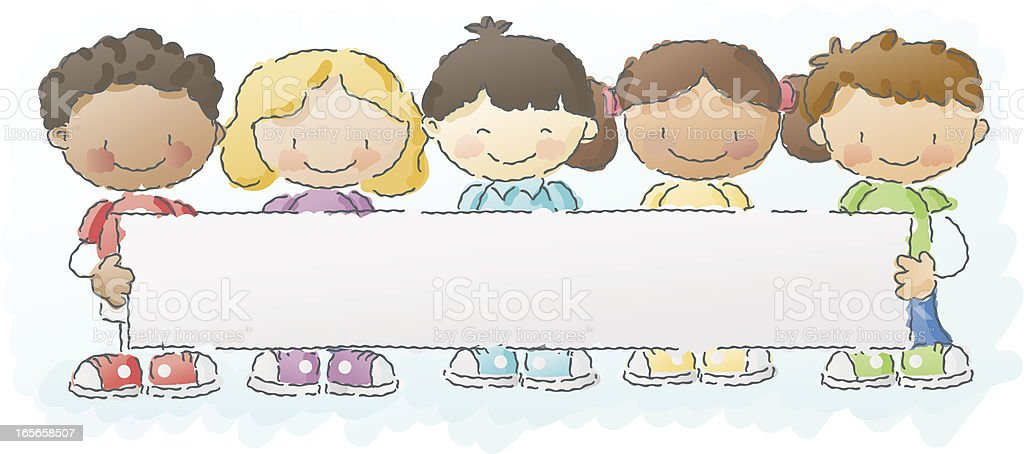 scribbles: schoolkids with sign royalty-free scribbles schoolkids with sign stock vector art & more images of african ethnicity