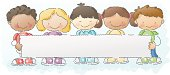 happy kids holding a sign. easily add your own text! grouped and layered for easy editing.