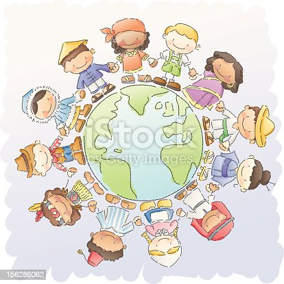 children of different nationalities holding hands around the world.