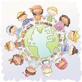 children of different nationalities holding hands around the world.
