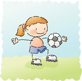 girl playing soccer. grouped and layered for easy editing.
